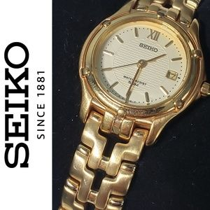 SEIKO Gold Tone Bracelet Watch w/ Date